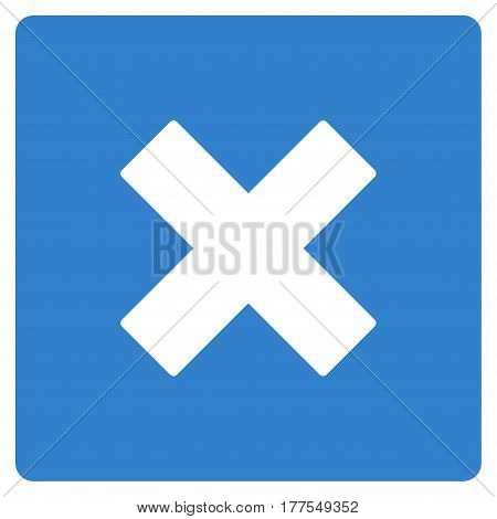 Close vector icon. Flat cobalt symbol. Pictogram is isolated on a white background. Designed for web and software interfaces.