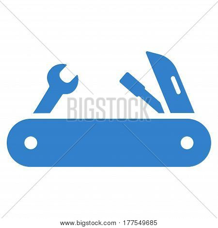 Multi-Tools Knife vector icon. Flat cobalt symbol. Pictogram is isolated on a white background. Designed for web and software interfaces.