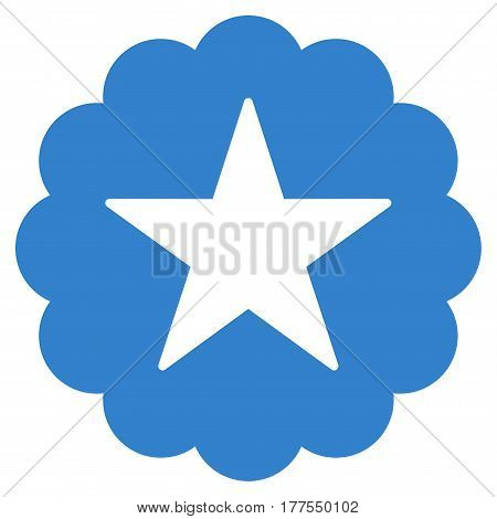 Star Quality Sticker vector icon. Flat cobalt symbol. Pictogram is isolated on a white background. Designed for web and software interfaces.