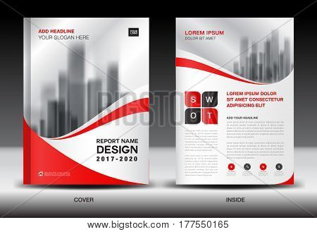 Annual report brochure flyer template Red cover design business book magazine ads bookletcatalog