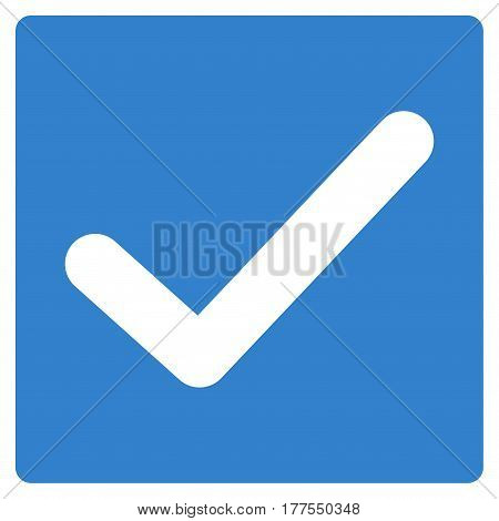 Valid Tick vector icon. Flat cobalt symbol. Pictogram is isolated on a white background. Designed for web and software interfaces.