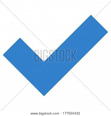 Yes Tick vector icon. Flat cobalt symbol. Pictogram is isolated on a white background. Designed for web and software interfaces.