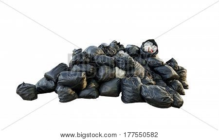 Many garbage bag isolated on white background