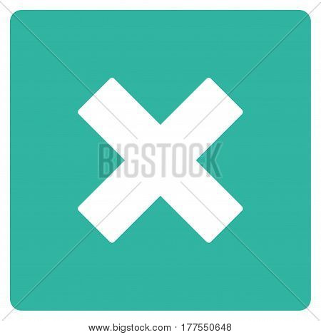 Close vector icon. Flat cyan symbol. Pictogram is isolated on a white background. Designed for web and software interfaces.