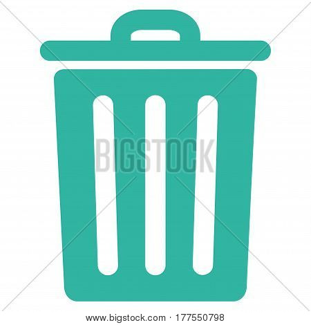 Dustbin vector icon. Flat cyan symbol. Pictogram is isolated on a white background. Designed for web and software interfaces.