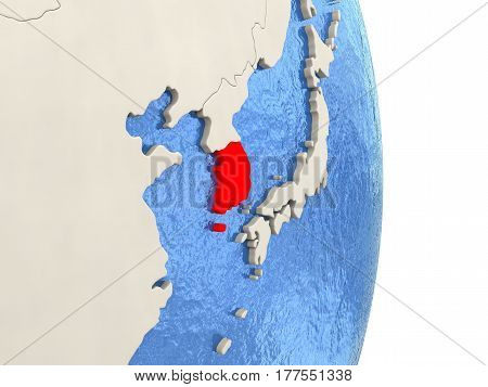 South Korea On Model Of Political Globe