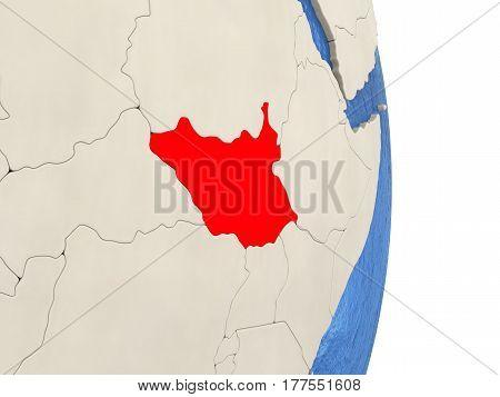 South Sudan On Model Of Political Globe