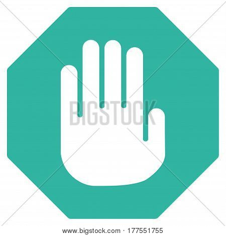 Terminate vector icon. Flat cyan symbol. Pictogram is isolated on a white background. Designed for web and software interfaces.