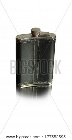 Black flask for alcohol in a leather case isolated on white