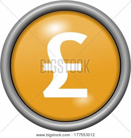 Orange Design Livre Sterling In Round 3D Button