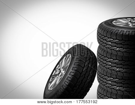 Close up tire with space for texts display isolated on gray background