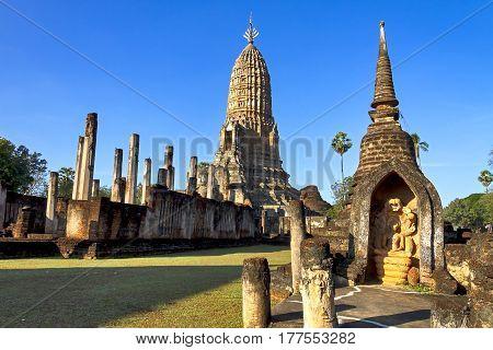 Architecture beauty light and shadow at Wat Phra Si Ratanamahathat in Sisatchanalai Historical Park Sukhothai province Thailand