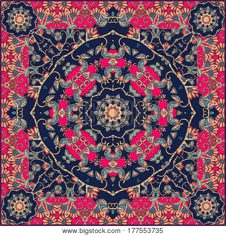 Unusual bandana print in mongolian style with flowers - mandala and beautiful ornament. Luxury carpet.