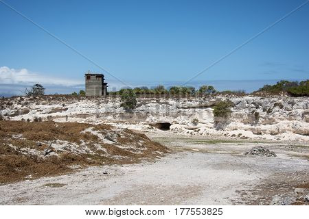 Cape Town South Africa - March 03 2017: The limestone quarry on Robben Island