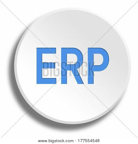 Blue Erp In Round White Button With Shadow