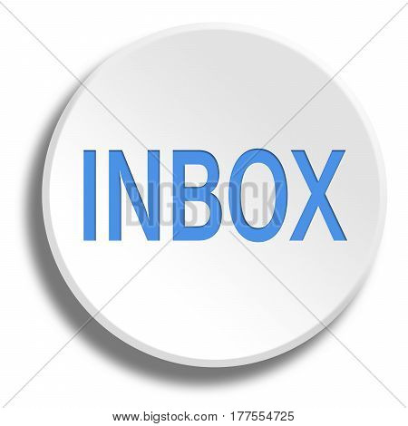 Blue Inbox In Round White Button With Shadow
