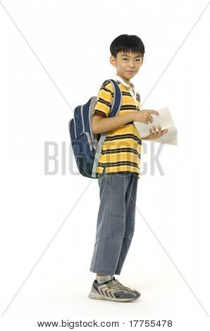 boy ready to school isolated on white