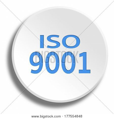 Blue Iso 9001 In Round White Button With Shadow