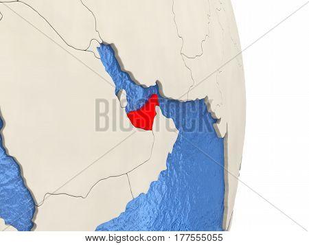 United Arab Emirates On Model Of Political Globe