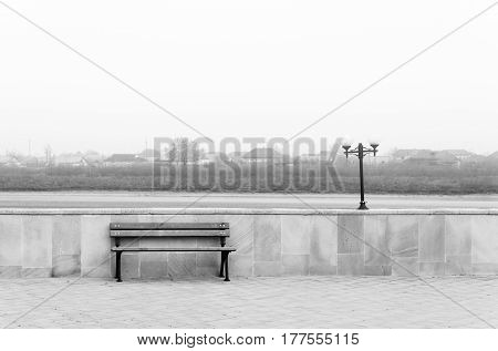 Empty bench. Sadness and loneliness, empty park