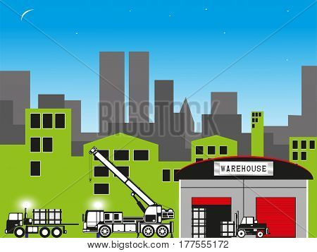 Unloading of materials in a warehouse in the city. Vector illustration.