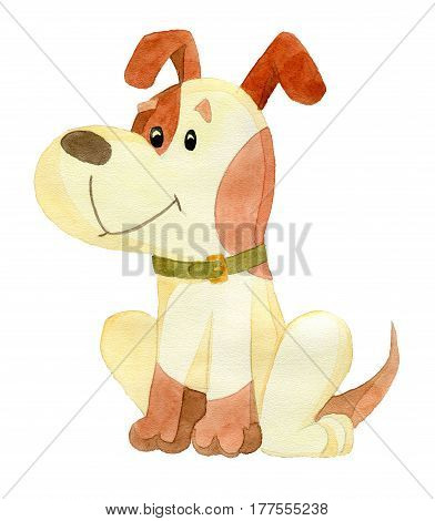 Funny cartoon dog sitting and looking left