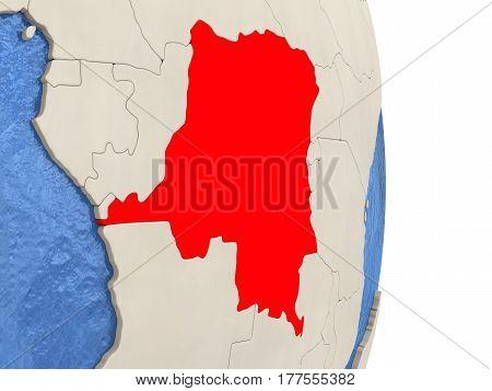 Democratic Republic Of Congo On Model Of Political Globe