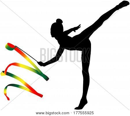 girl gymnast black silhouette and color ribbon for rhythmic gymnastics