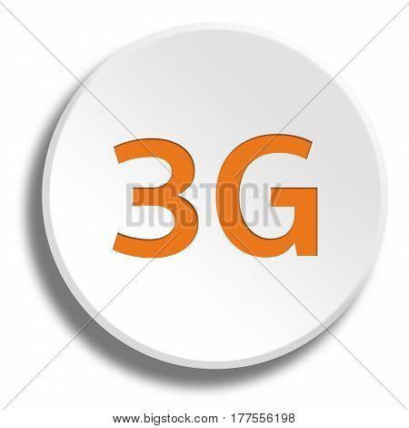Orange 3G In Round White Button With Shadow