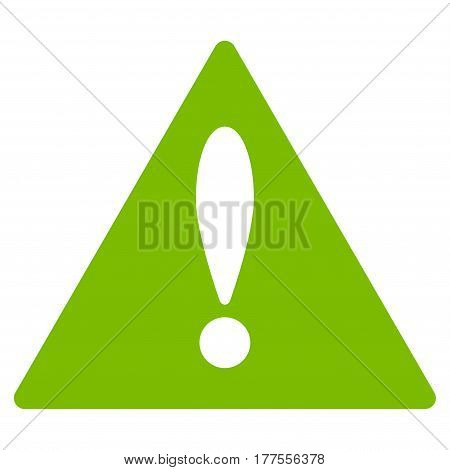 Warning vector icon. Flat eco green symbol. Pictogram is isolated on a white background. Designed for web and software interfaces.