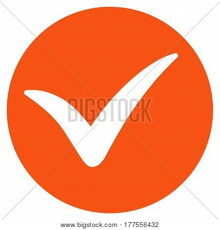 Apply vector icon. Flat orange symbol. Pictogram is isolated on a white background. Designed for web and software interfaces.