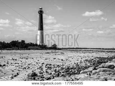 Barnegat Bay Lighthouse, off the Atlantic coast in New Jersey, black and White