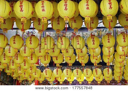 Beautiful yellow lanterns hanging in the Zizhu Temple or Purple Bamboo Temple as it is known was built over 300 years ago and has been renovated several times over the years. Located in Kaohsiung Taiwan Republic of China