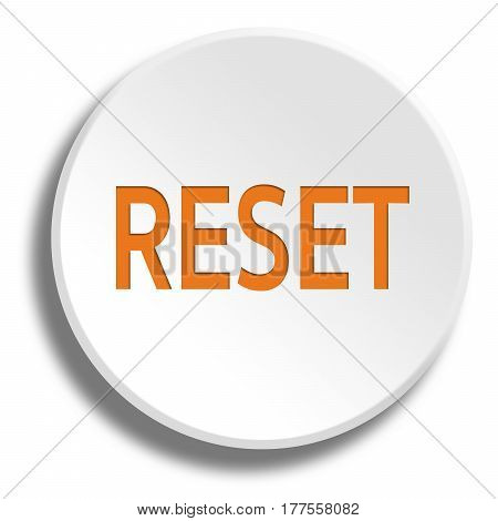 Orange Reset In Round White Button With Shadow
