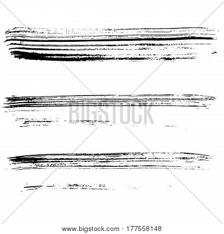 Set of ink vector brush strokes. Vector illustration. Grunge hand drawn watercolor texture