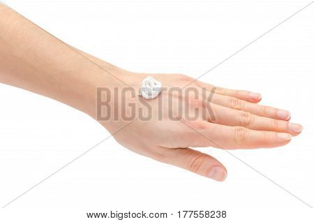 Hand Of Young Girl Holding Cream.