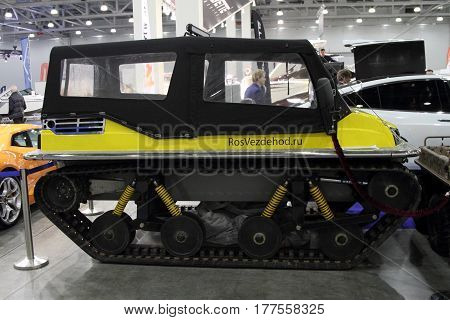 MOSCOW - MARCH 09, 2017:  Тracked all-terrain vehicle TERRANICA Dreamtrack for 10 International boat show in Moscow. Russia