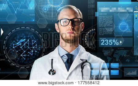 science, technology, people and medicine concept - close up of male doctor in white coat with stethoscope and virtual screens
