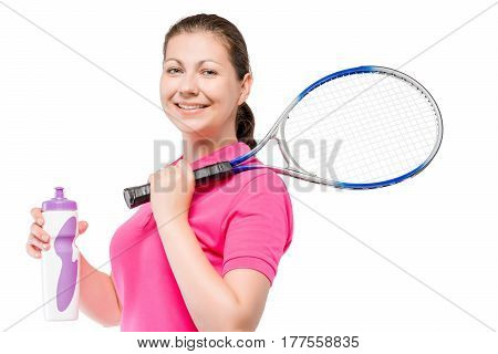 30-year-old Tennis Player With A Racquet And A Bottle Of Water On A White Background