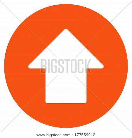 Up Arrow vector icon. Flat orange symbol. Pictogram is isolated on a white background. Designed for web and software interfaces.