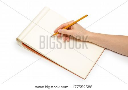 Hand Of Young Girl Holding Notepad.