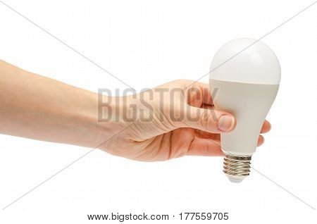 Hand Of Young Girl Holding Low Energy Lightbulb.