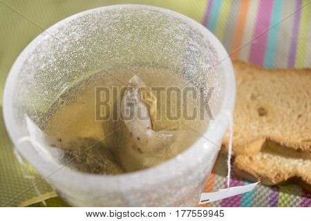 herbal tea filter in infusion in hot water