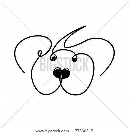 Vector continuous line. Abstract portrait of a dog