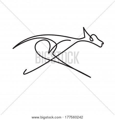 Vector continuous line. Abstract dog running and jumping