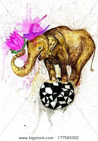 Big cartoon elephant hand drawn watercolor illustration.
