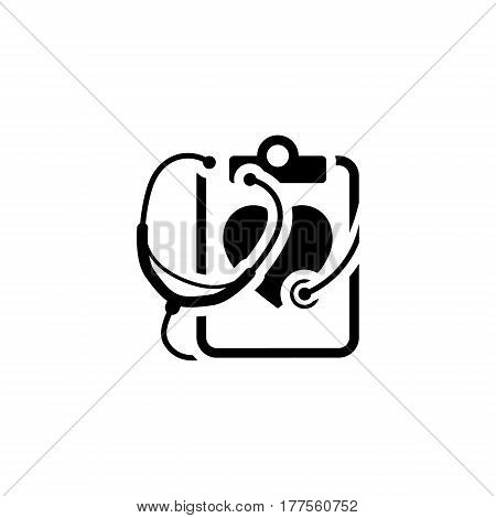 Heart Care Icon with Stethoscope . Flat Design Isolated.