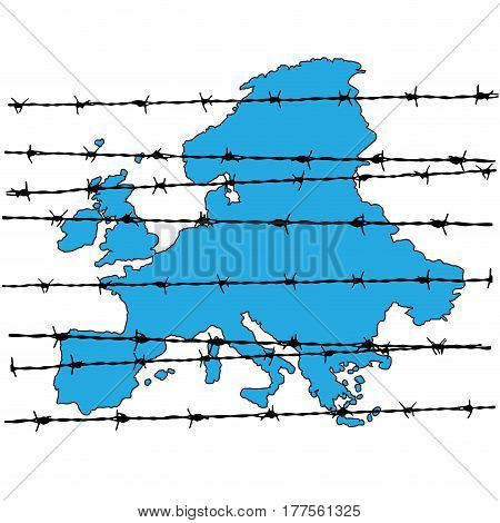Barbed wire around to europe borders closed