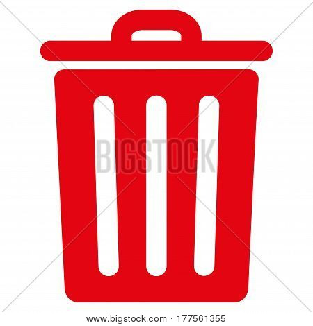 Dustbin vector icon. Flat red symbol. Pictogram is isolated on a white background. Designed for web and software interfaces.