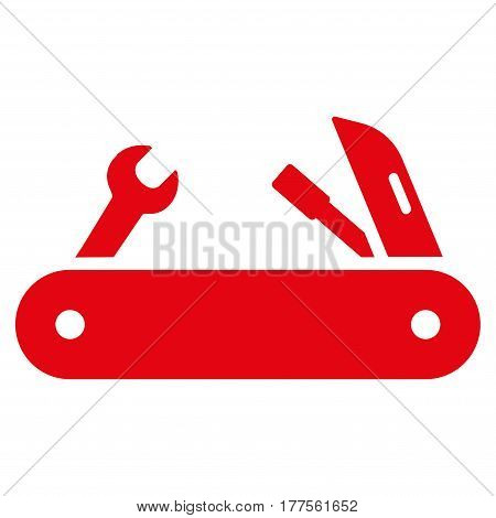 Multi-Tools Knife vector icon. Flat red symbol. Pictogram is isolated on a white background. Designed for web and software interfaces.